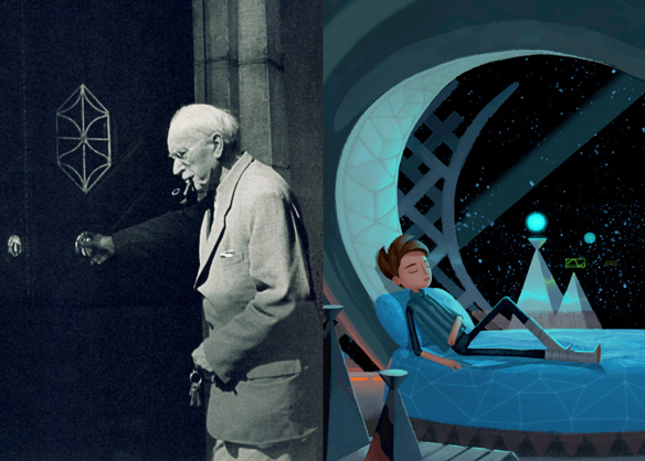 Left: Carl G. Jung. Right Photo: Broken Age / Double Fine Productions